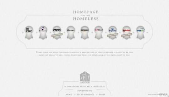 Homepage for the homeless