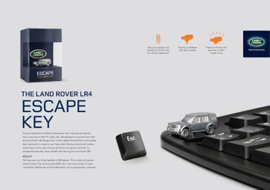 Land Rover convierte la tecla de escape en recordatorio publicitario