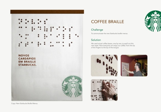 Starbucks coffee braille menu