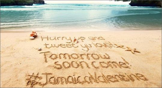 Tweet in the sand