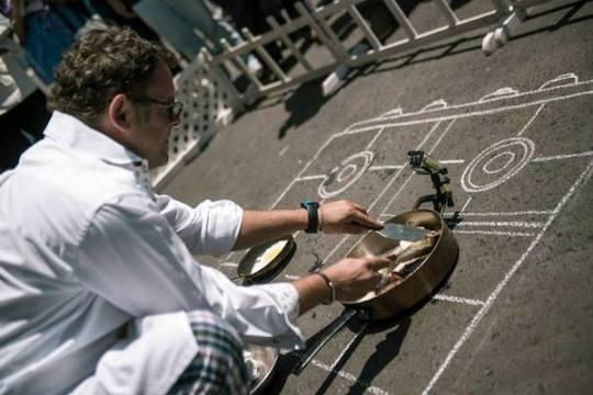 Cooking on the asphalt