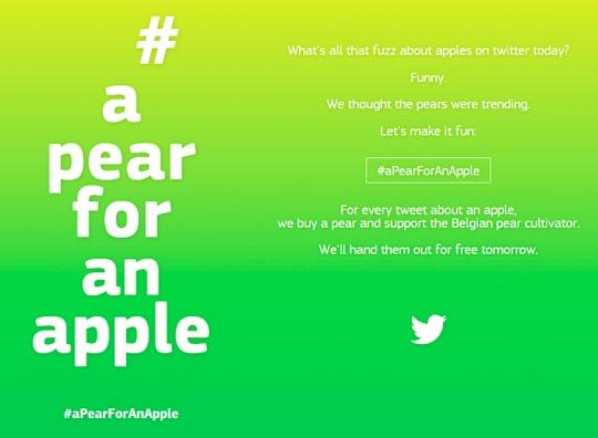 a pear for an apple